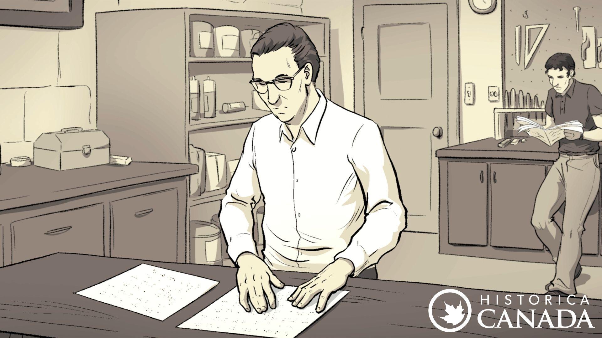 Dessin d'un homme lisant des papiers dans un atelier